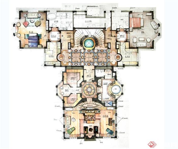 上海檀宫别墅住宅空间设计jpg方案及效果图(6)