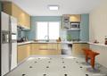 厨房,橱柜,厨房餐柜,厨房设施,桌凳,冰箱