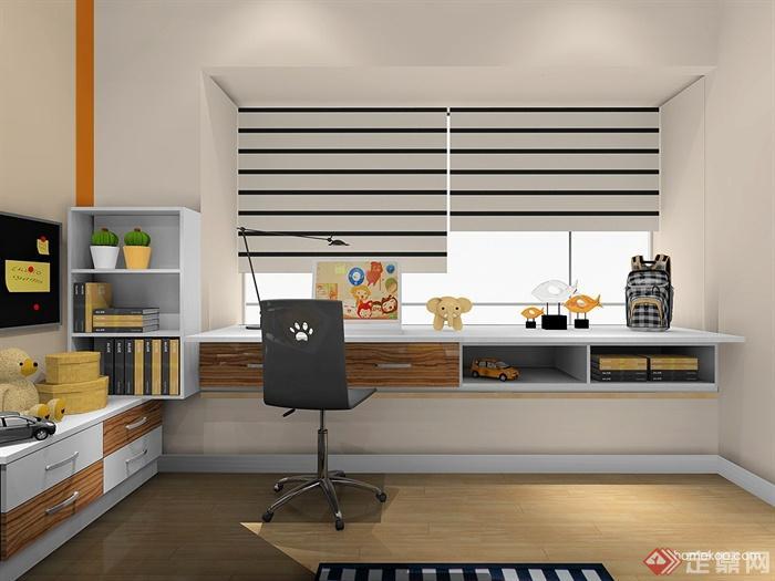 卧室,桌椅,柜子,书柜