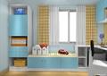 儿童房设计,储物柜,坐凳,书桌