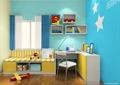儿童房设计,书桌,坐凳,展示架