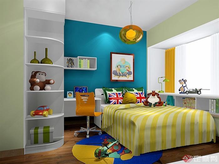 儿童房,桌椅,柜子,儿童床