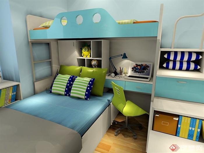儿童房,高低床,柜子