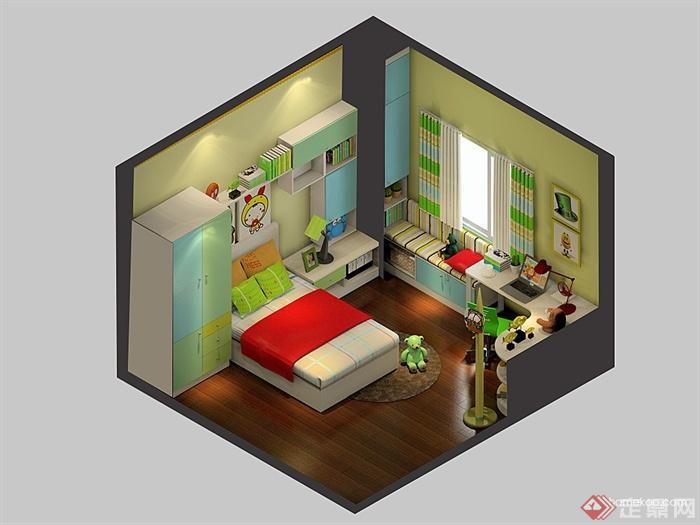 儿童房,儿童床,柜子,桌椅