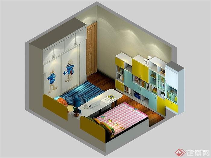 儿童房,卧室,床,柜子