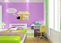 儿童房,儿童床,桌椅,窗户