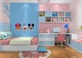 儿童房,榻榻米式床,桌椅,抽屉柜