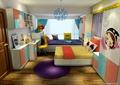 儿童房,榻榻米式床,桌椅,柜子,榻榻米,衣柜