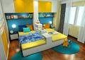 儿童房,儿童床,榻榻米式床,床头柜,柜子