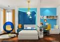 卧室,床,吊灯,屏风幕墙,桌椅,座椅