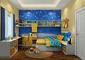 儿童房,榻榻米式床,桌椅,柜子,床头柜