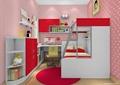 儿童房设计,高低床,书桌,书柜