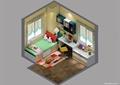 儿童房,榻榻米式床,抽屉柜,桌椅