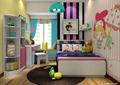 儿童房,榻榻米式床,桌椅,柜子,墙画