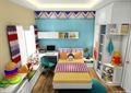 儿童房,儿童床,桌椅,书柜,柜子