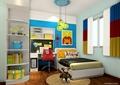 儿童房,儿童床,桌椅,柜子,吊灯