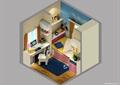 兒童房,榻榻米式床,兒童桌椅,柜子
