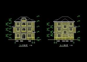 某欧式风格独栋别墅设计cad方案图