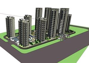 某高层小区建筑SU(草图大师)模型素材