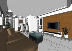 现代简约居住空间设计SU(草图大师)模型