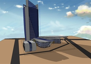 高层创意综合建筑设计SU(草图大师)模型