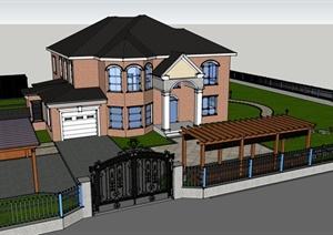 美式风格别墅建筑铺装园路廊架亭子设计SU(草图大师)模型