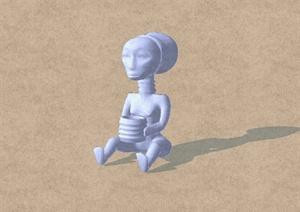 某文物抽象人物设计SU(草图大师)模型