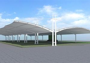 现代风格膜结构车棚设计SU(草图大师)模型