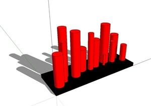 现代风格红色柱体小品设计SU(草图大师)模型