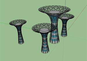 某现代风格柱体景观小品设计SU(草图大师)模型