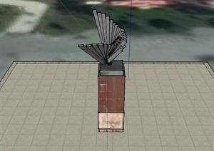 现代风格柱体雕塑小品设计SU(草图大师)模型
