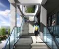 学校建筑,教学楼,楼梯,楼梯踏步,玻璃栏杆