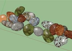 多种不同景石石头设计SU(草图大师)模型