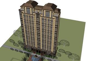 某欧式风格高层小区住宅楼建筑设计SU(草图大师)模型