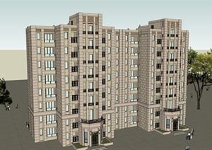 新古典风格多层小区住宅建筑设计SU(草图大师)模型