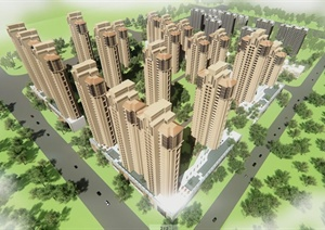 某现代小区建筑设计方案(SU(草图大师)模型+施工图+效果图)