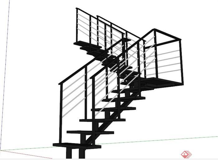 室內轉角鐵樓梯設計SU模型(1)