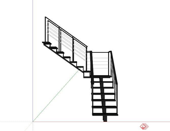 室內轉角鐵樓梯設計SU模型(3)