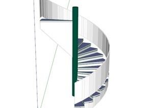 白色旋转楼梯设计SU(草图大师)模型