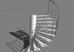 白色旋转楼梯设计SU(草图大师)模型素材