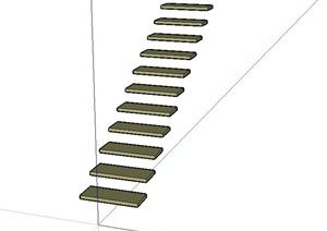 现代风格简单楼梯踏步设计SU(草图大师)模型