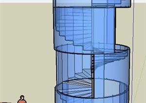 简约圆柱旋转楼梯SU(草图大师)模型