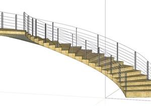 某石材旋转楼梯设计SU(草图大师)模型