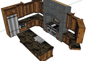 新古典厨房橱柜设计SU(草图大师)模型