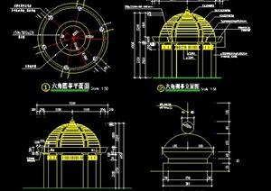 三款凉亭及廊架设计cad施工图