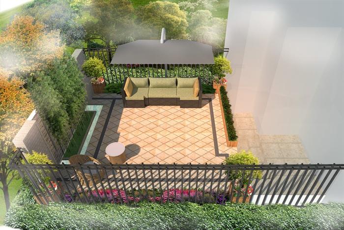 现代别墅庭院景观设计su模型(带效果图)