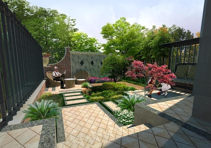 现代别墅屋顶效果图_现代住宅庭院景观设计su模型(含效果图)[原创]