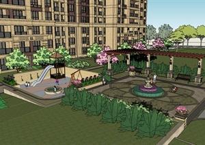 新古典拼接高层小区建筑及景观设计SU(草图大师)模型