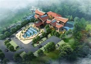 某东南亚风格酒店会所建筑施工图、室内cad施工图设计(含效果图)