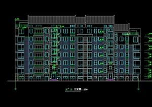 北美风格多层住宅楼建筑设计cad方案图